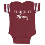 Kickin It With Mommy Funny Baby Boy Jersey Bodysuit Infant