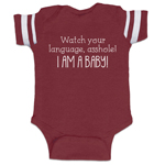Watch Your Language, Asshole! I Am A Baby! Funny Baby Boy Jersey Bodysuit Infant