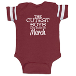 The Cutest Boys Are Born In March Funny Baby Boy Jersey Bodysuit Infant