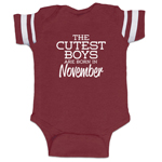 The Cutest Boys Are Born In November Funny Baby Boy Jersey Bodysuit Infant