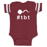 Throwback Thursday Hashtag Sperm #TBT Funny Baby Boy Jersey Bodysuit Infant