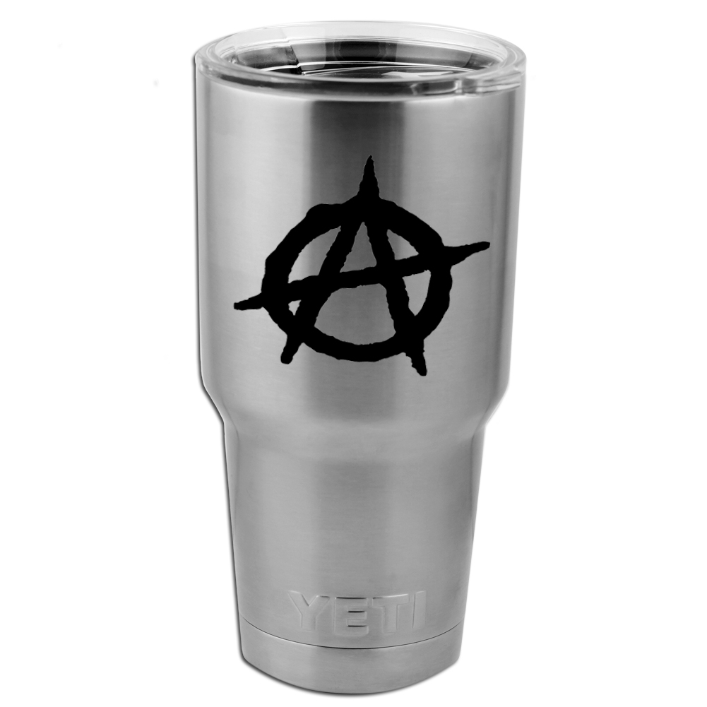 Anarchy Symbol Outline Vinyl Sticker Decal for Yeti Mug Cup Thermos Pint Glass (DECAL ONLY, NO CUP)