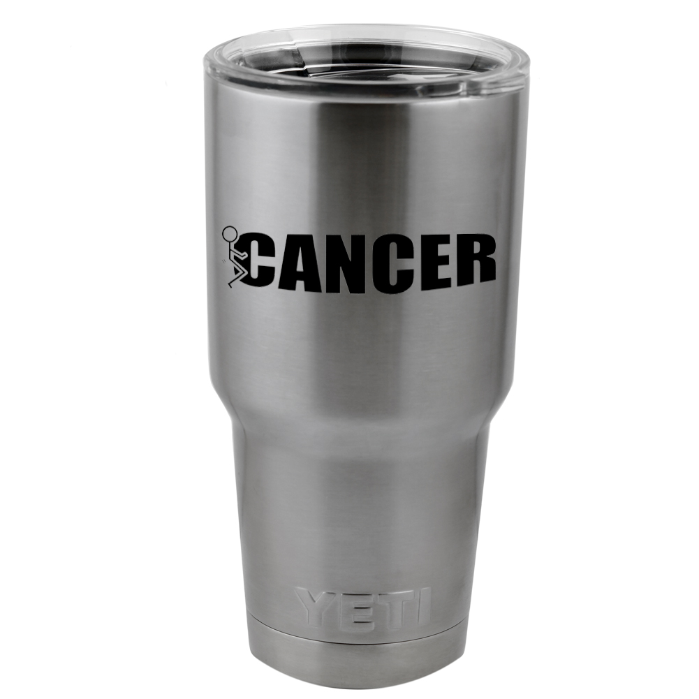 Funny Humping Stick Figure F*ck Cancer Vinyl Sticker Decal for Yeti Mug Cup Thermos Pint Glass (DECAL ONLY, NO CUP)