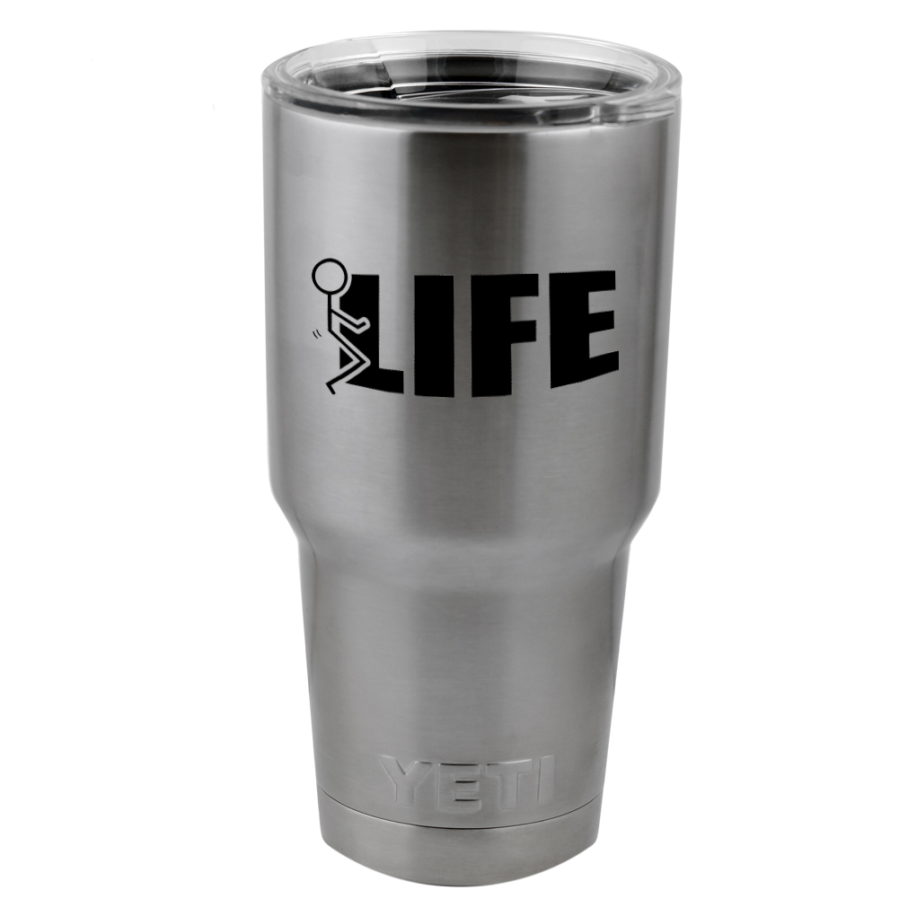 Funny Humping Stick Figure F*ck Life Vinyl Sticker Decal for Yeti Mug Cup Thermos Pint Glass (DECAL ONLY, NO CUP)