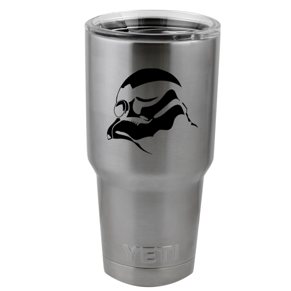 Stormtrooper Helmet Star Wars Inspired Silhouette Vinyl Sticker Decal for Yeti Mug Cup Thermos Pint Glass (DECAL ONLY, NO CUP)