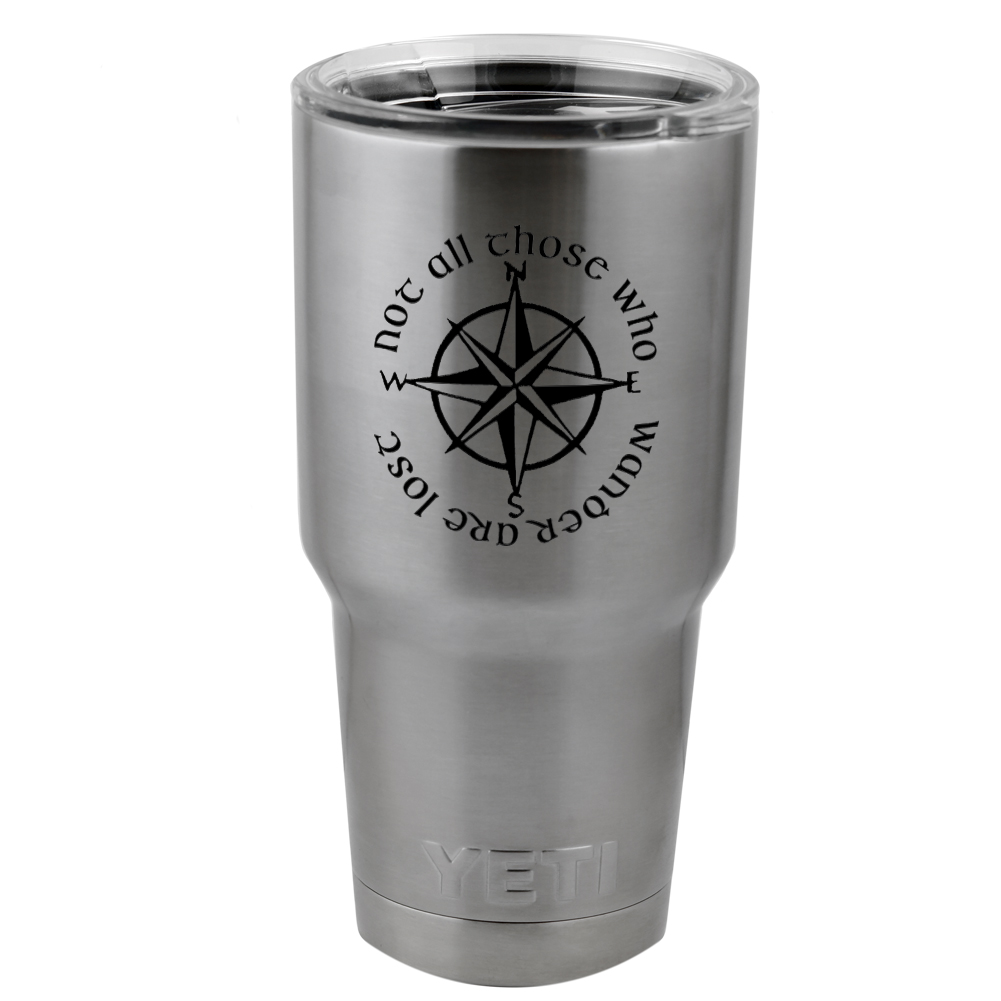 Not All Those Who Wander Are Lost LOTR Compass Vinyl Sticker Decal for Yeti Mug Cup Thermos Pint Glass (DECAL ONLY, NO CUP)