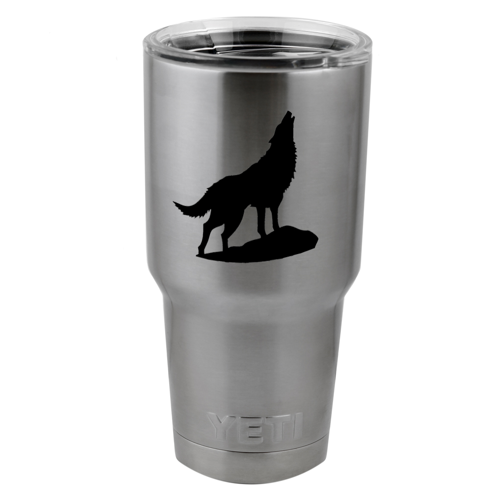 Howling Wolf Silhouette Vinyl Sticker Decal for Yeti Mug Cup Thermos Pint Glass (DECAL ONLY, NO CUP)
