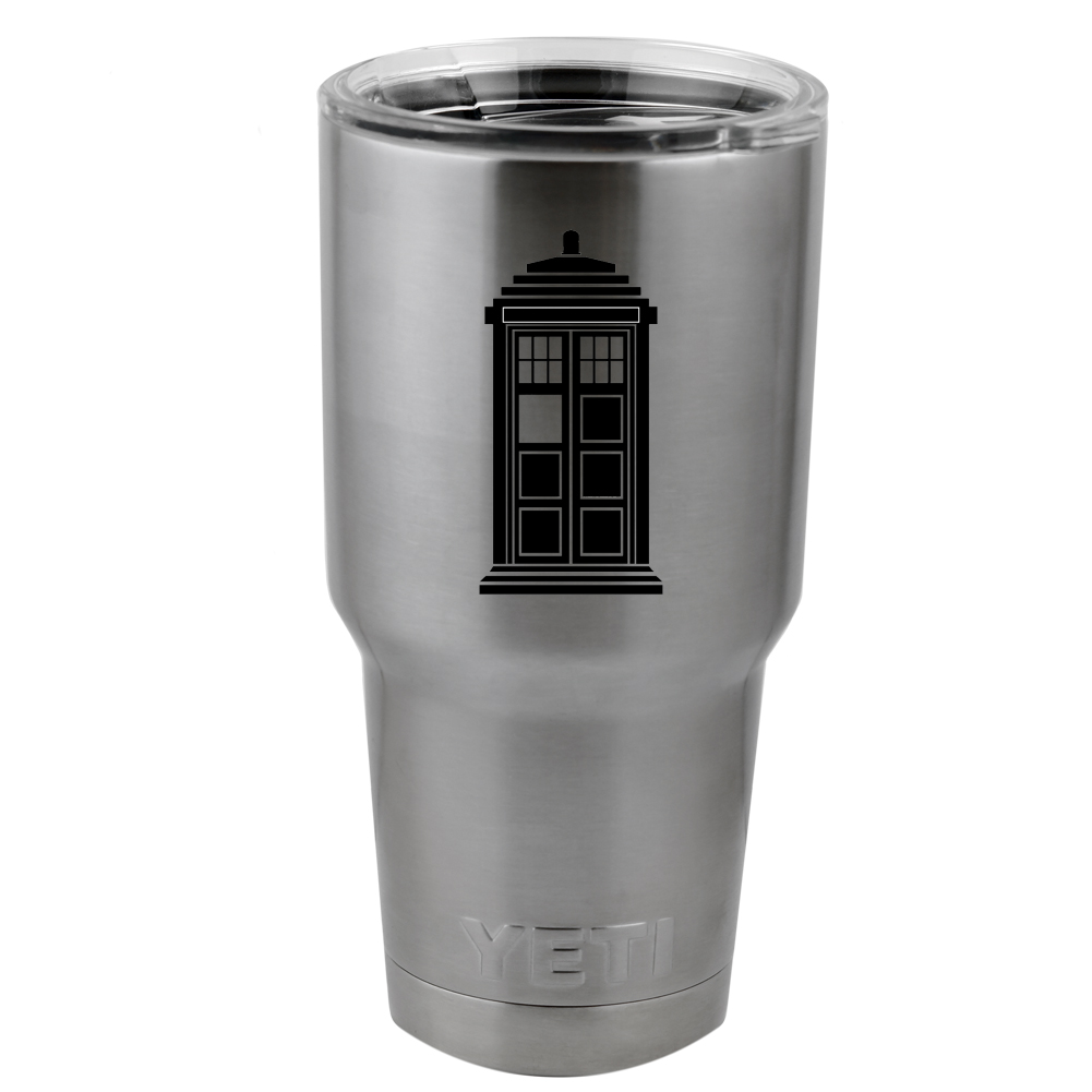 Simple Tardis Silhouette DW Inspired Vinyl Sticker Decal for Yeti Mug Cup Thermos Pint Glass (DECAL ONLY, NO CUP)
