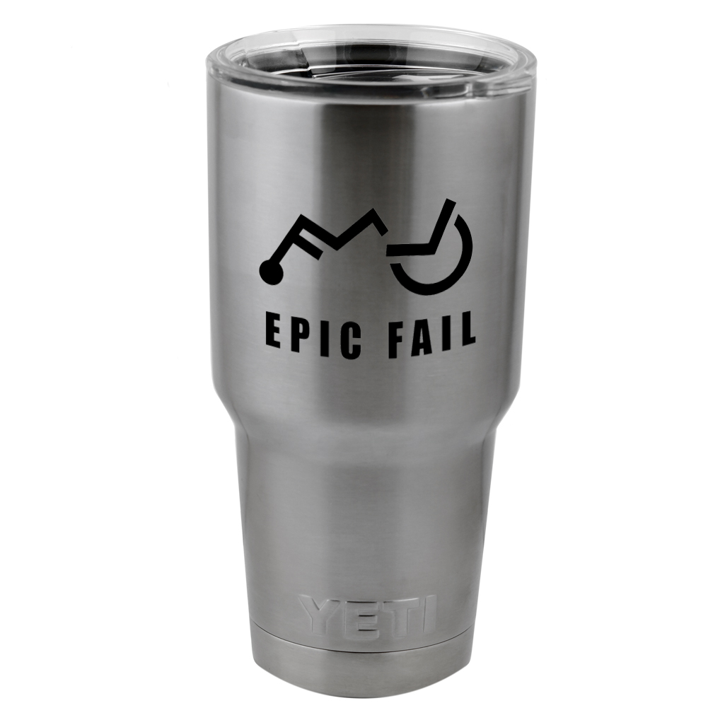 Funny Epic Wheelchair Fail Vinyl Sticker Decal for Yeti Mug Cup Thermos Pint Glass (DECAL ONLY, NO CUP)