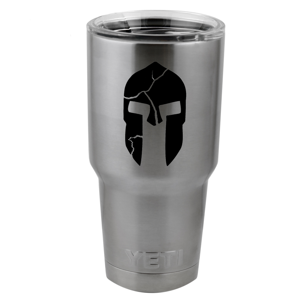 300 Inspired Cracked Spartan Helmet Vinyl Sticker Decal for Yeti Mug Cup Thermos Pint Glass (DECAL ONLY, NO CUP)
