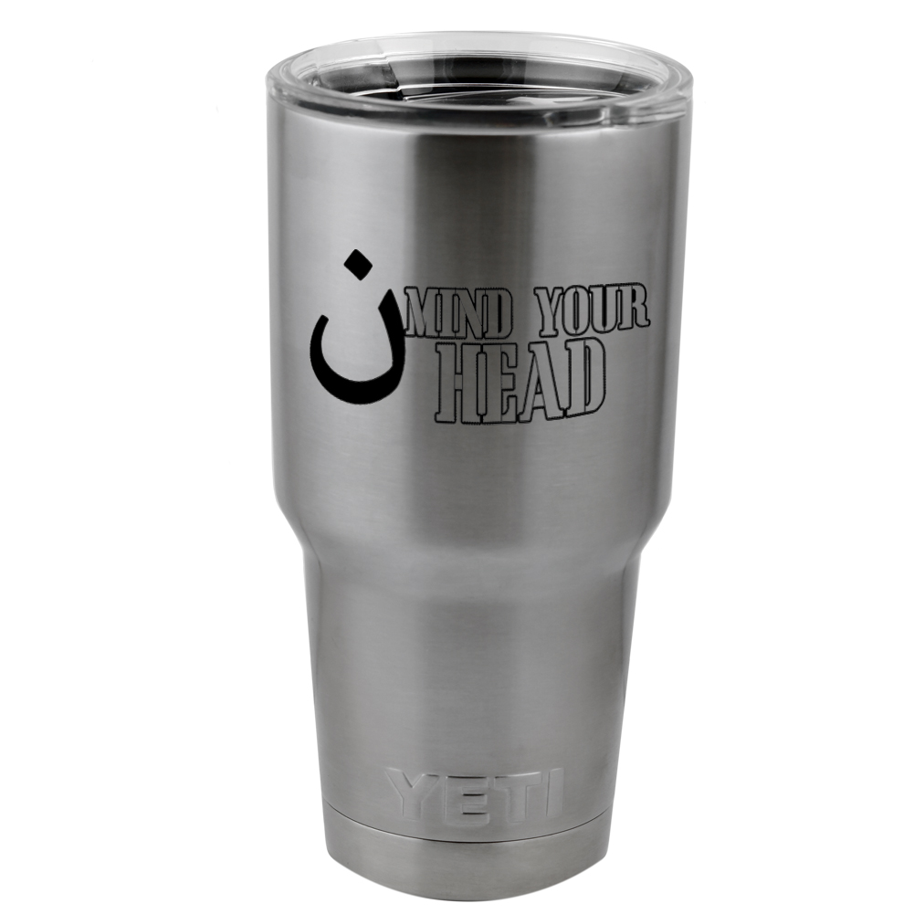 Funny ISIS Mind Your Head Terrorist Vinyl Sticker Decal for Yeti Mug Cup Thermos Pint Glass (DECAL ONLY, NO CUP)