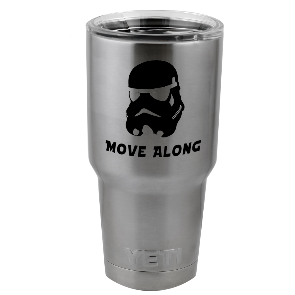 Funny Star Wars Inspired Stormtrooper Move Along Vinyl Sticker Decal for Yeti Mug Cup Thermos Pint Glass (DECAL ONLY, NO CUP)