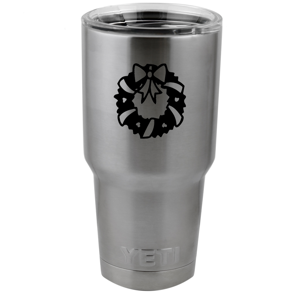 Christmas Wreath Ribbons Silhouette Vinyl Sticker Decal for Yeti Mug Cup Thermos Pint Glass (DECAL ONLY, NO CUP)