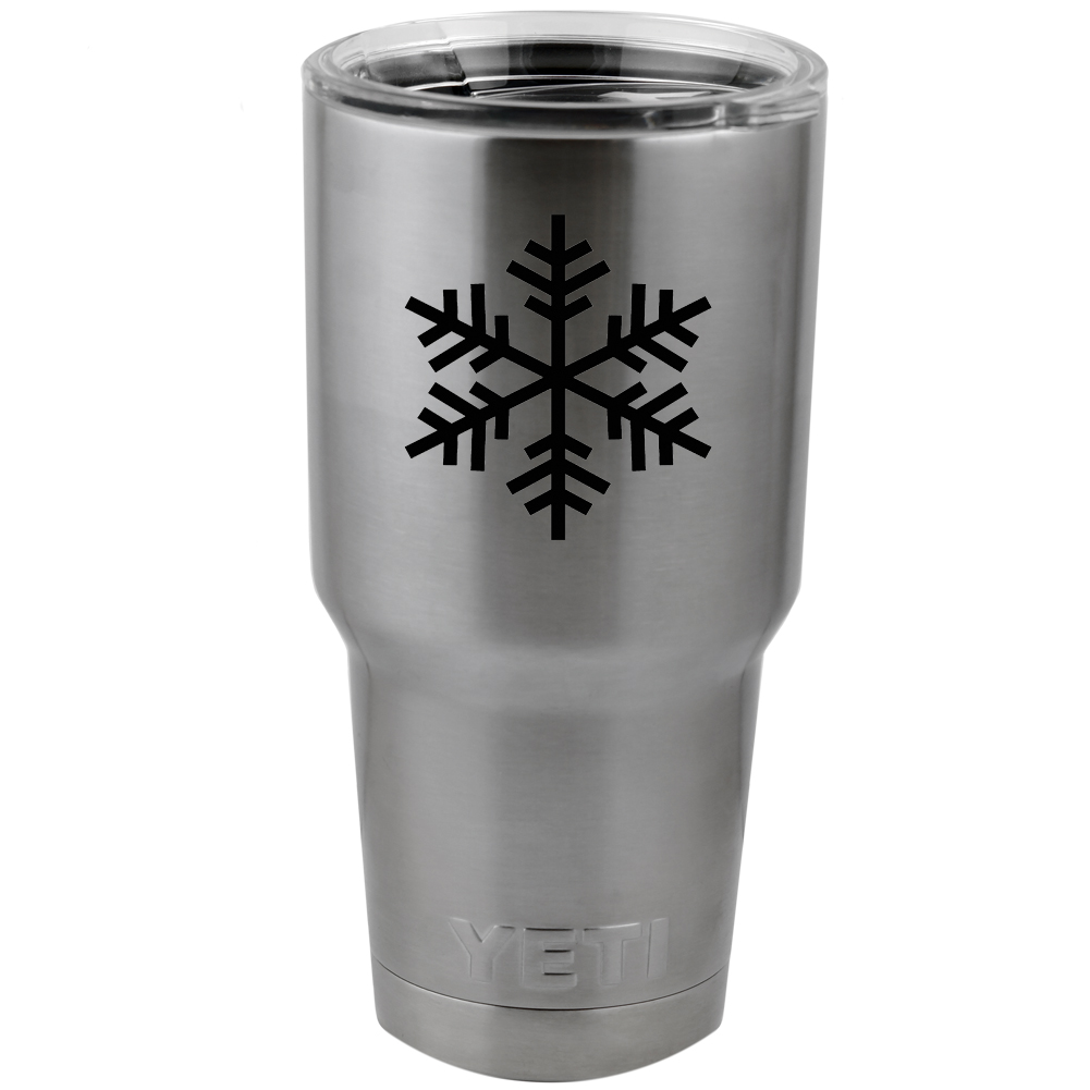 Snowflake Outline Silhouette Winter Vinyl Sticker Decal for Yeti Mug Cup Thermos Pint Glass (DECAL ONLY, NO CUP)