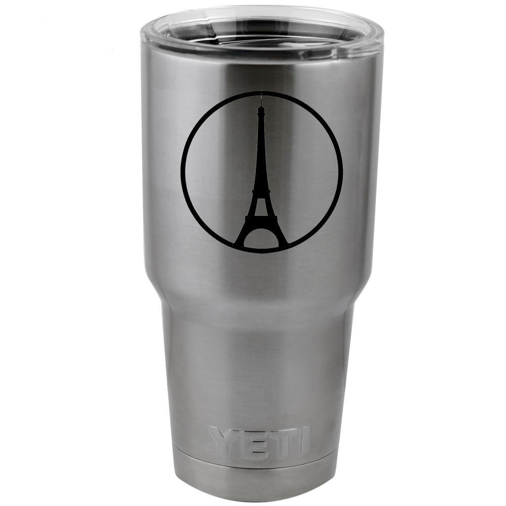 Eiffel Tower Peace Paris Symbol Vinyl Sticker Decal for Yeti Mug Cup Thermos Pint Glass (DECAL ONLY, NO CUP)