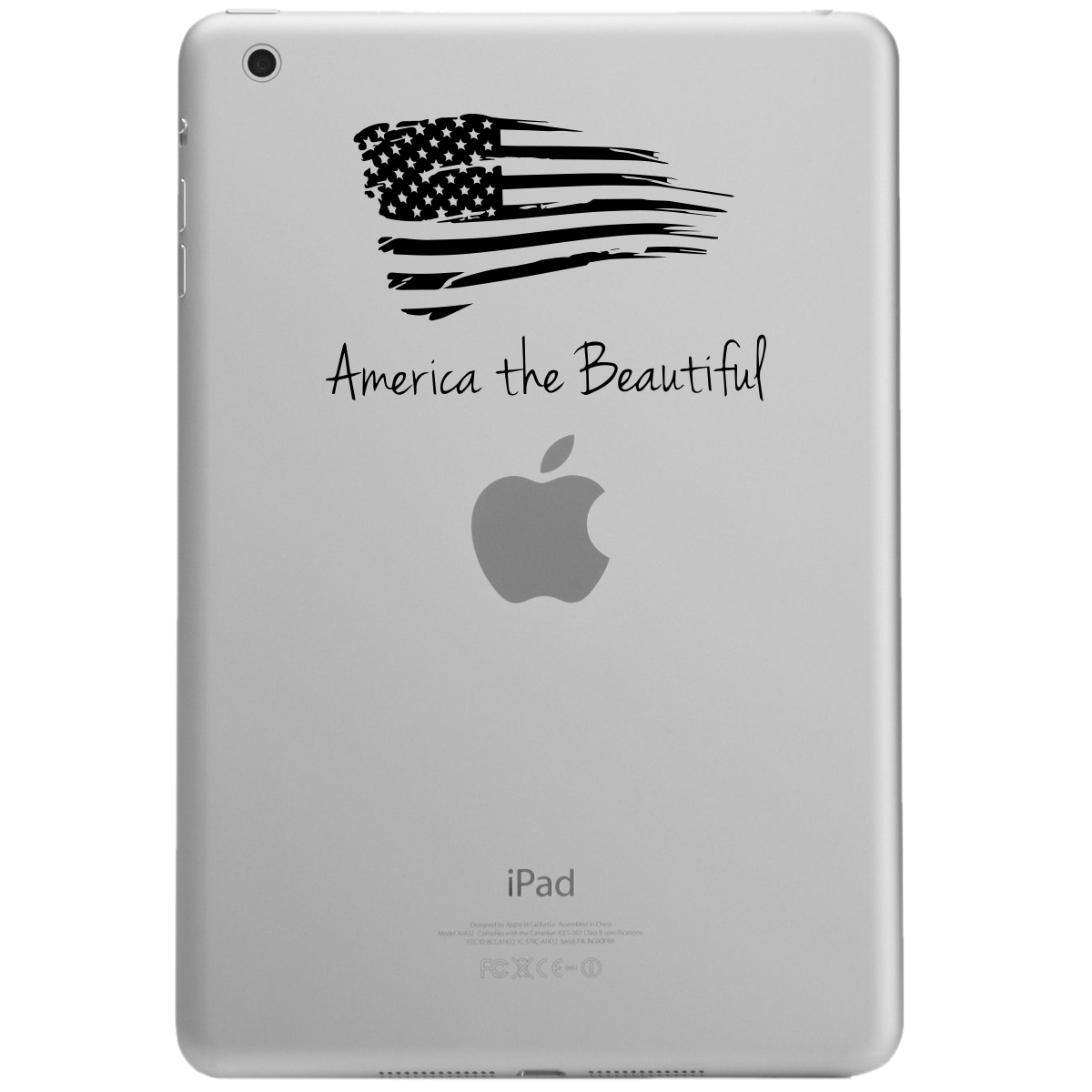 Patriotic America the Beautiful USA Flag iPad Tablet Vinyl Sticker Decal