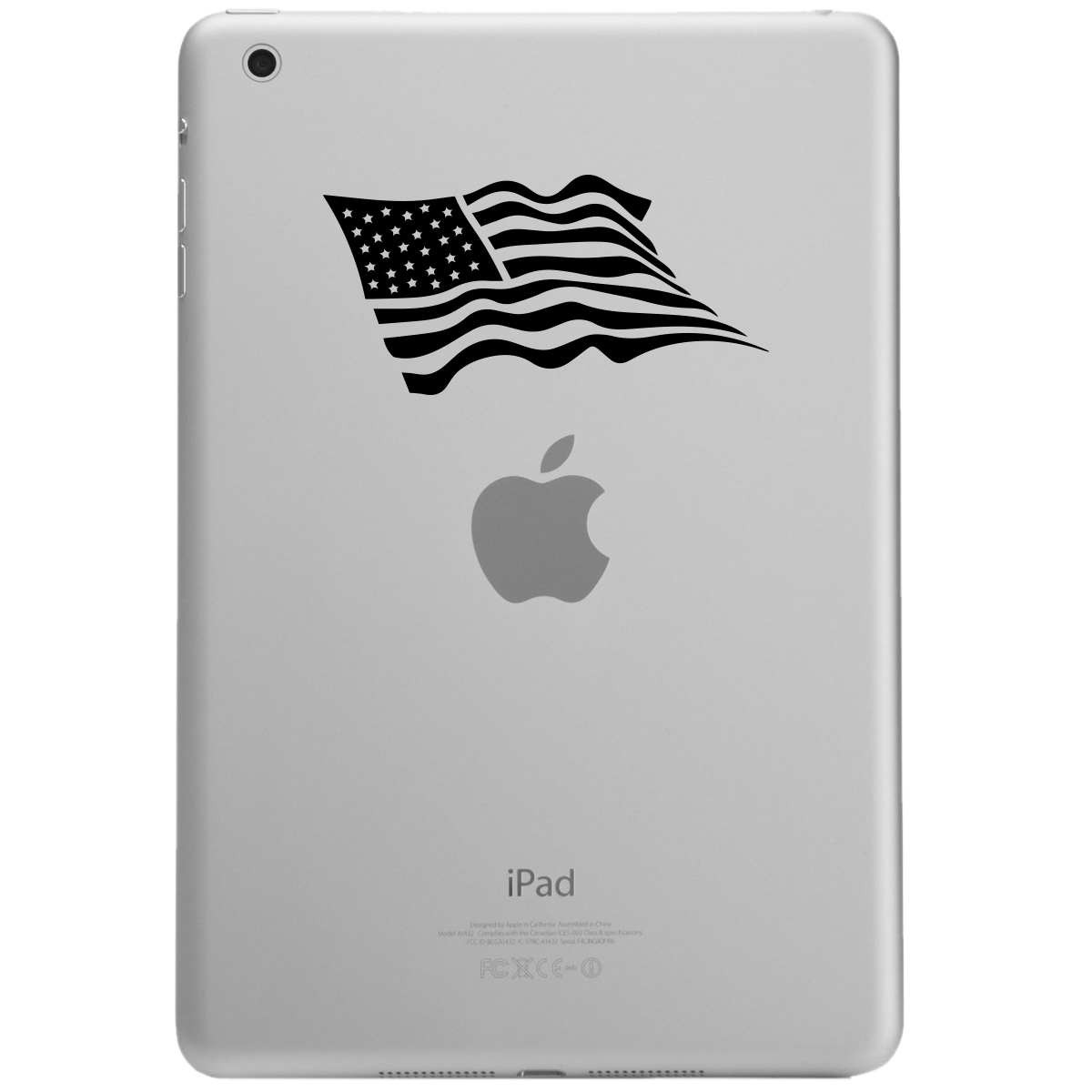 Waving USA Flag Patriotic iPad Tablet Vinyl Sticker Decal