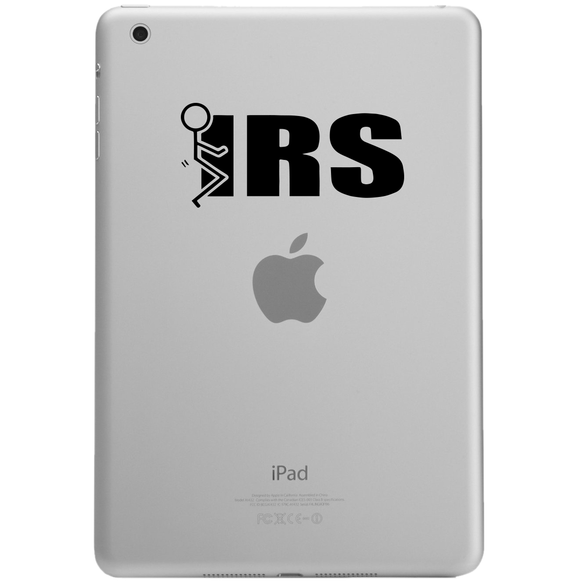 Funny Stick Figure Humping F*ck the IRS iPad Tablet Vinyl Sticker Decal