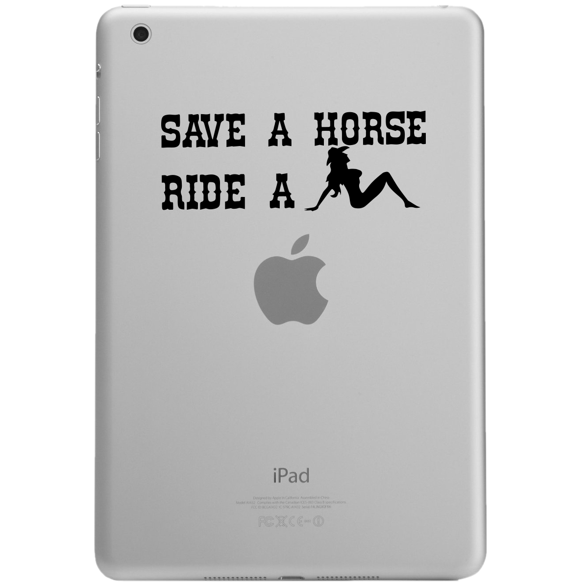 Funny Country Save a Horse Ride a Cowgirl iPad Tablet Vinyl Sticker Decal