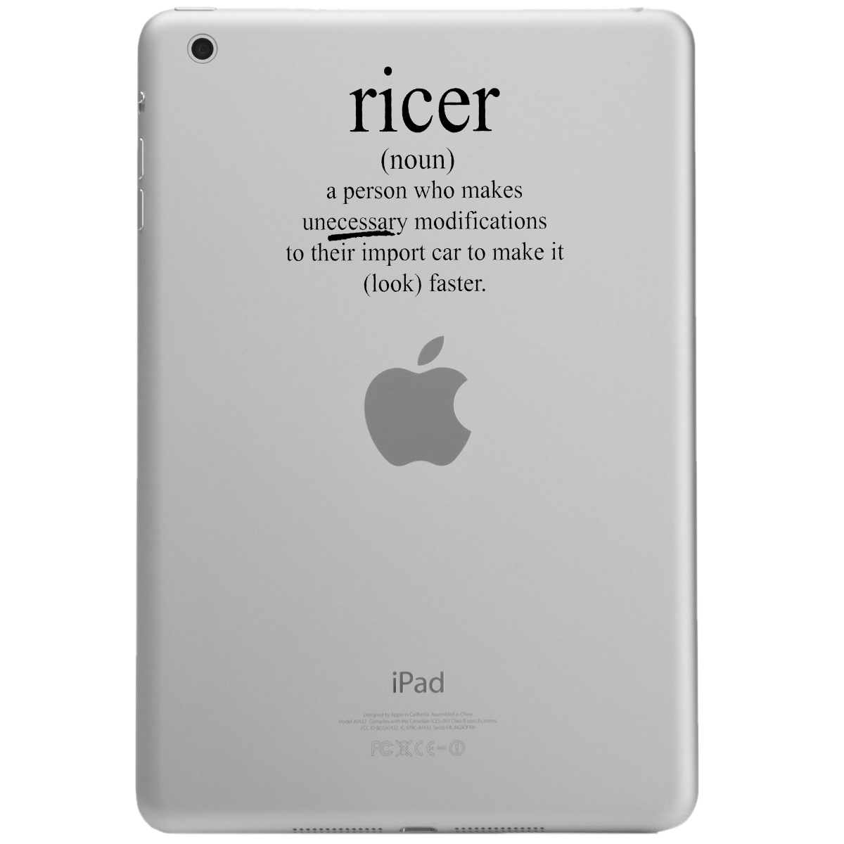 Funny JDM Ricer Definition iPad Tablet Vinyl Sticker Decal