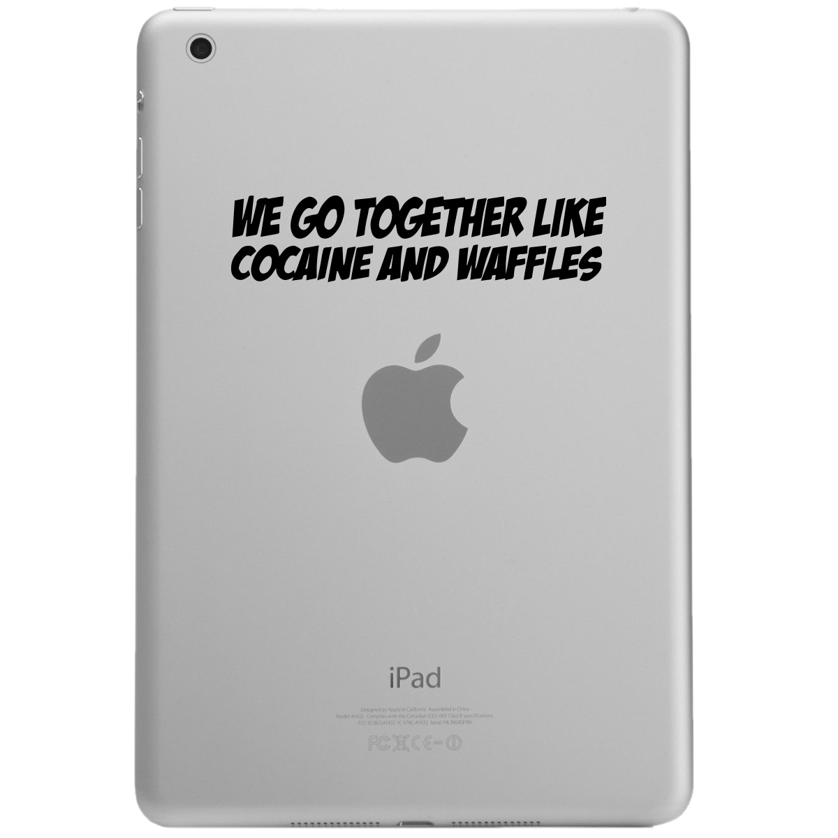 Funny Ricky Bobby Quote Cocaine and Waffles iPad Tablet Vinyl Sticker Decal