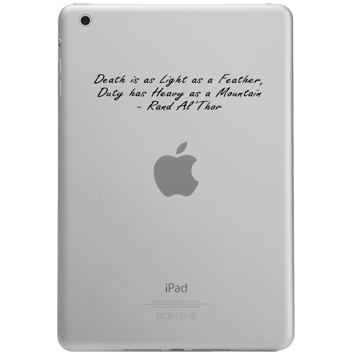 Death is Light as a Feather Quote iPad Tablet Vinyl Sticker Decal