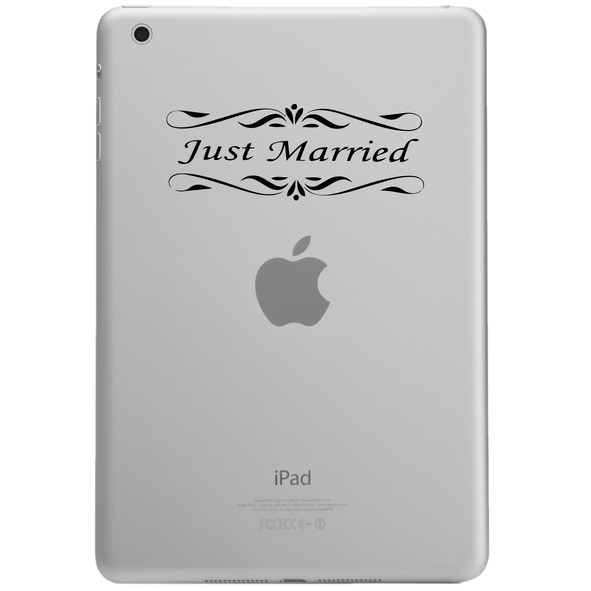 Just Married Bride Groom Wedding iPad Tablet Vinyl Sticker Decal