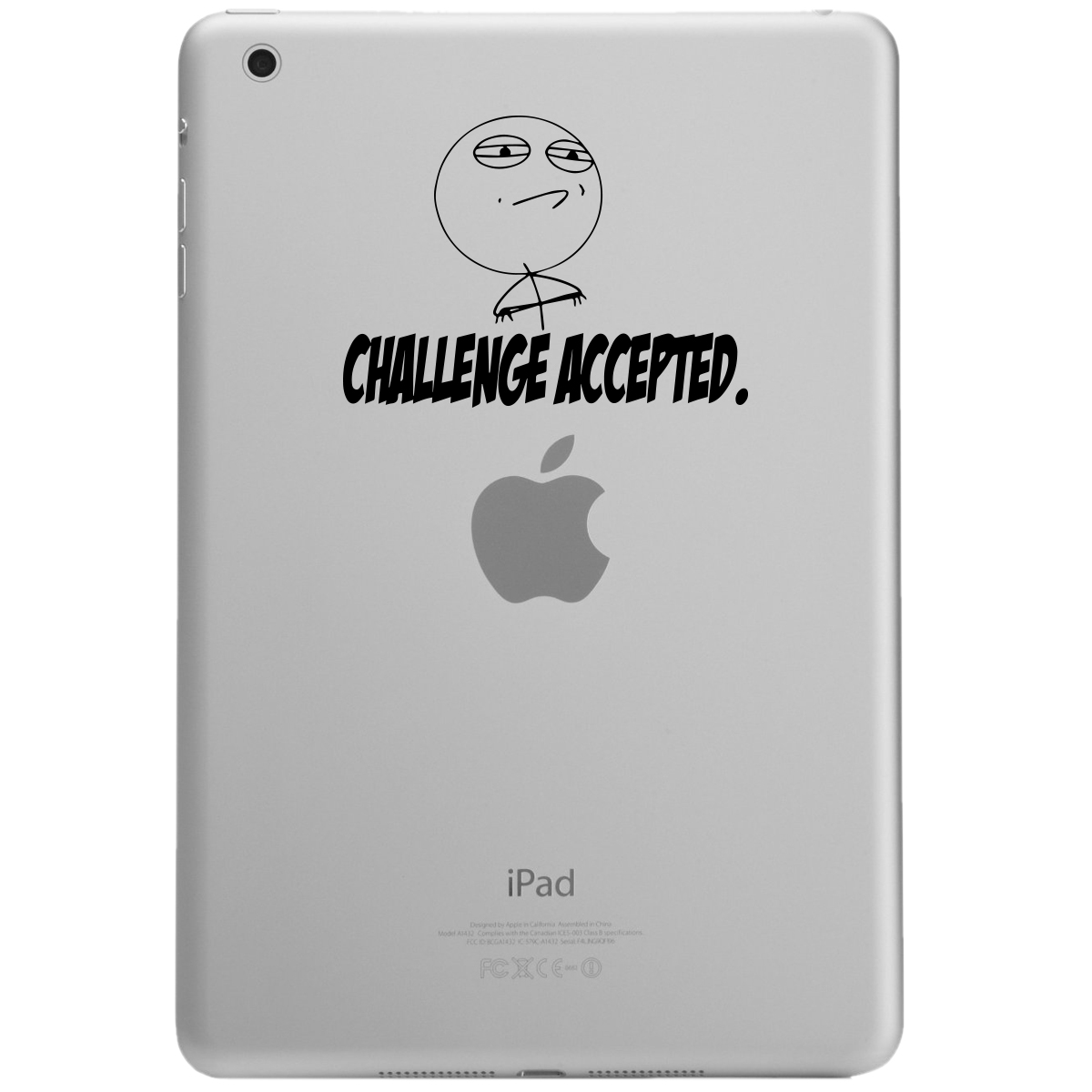 Meme Face Challenge Accepted Funny iPad Tablet Vinyl Sticker Decal
