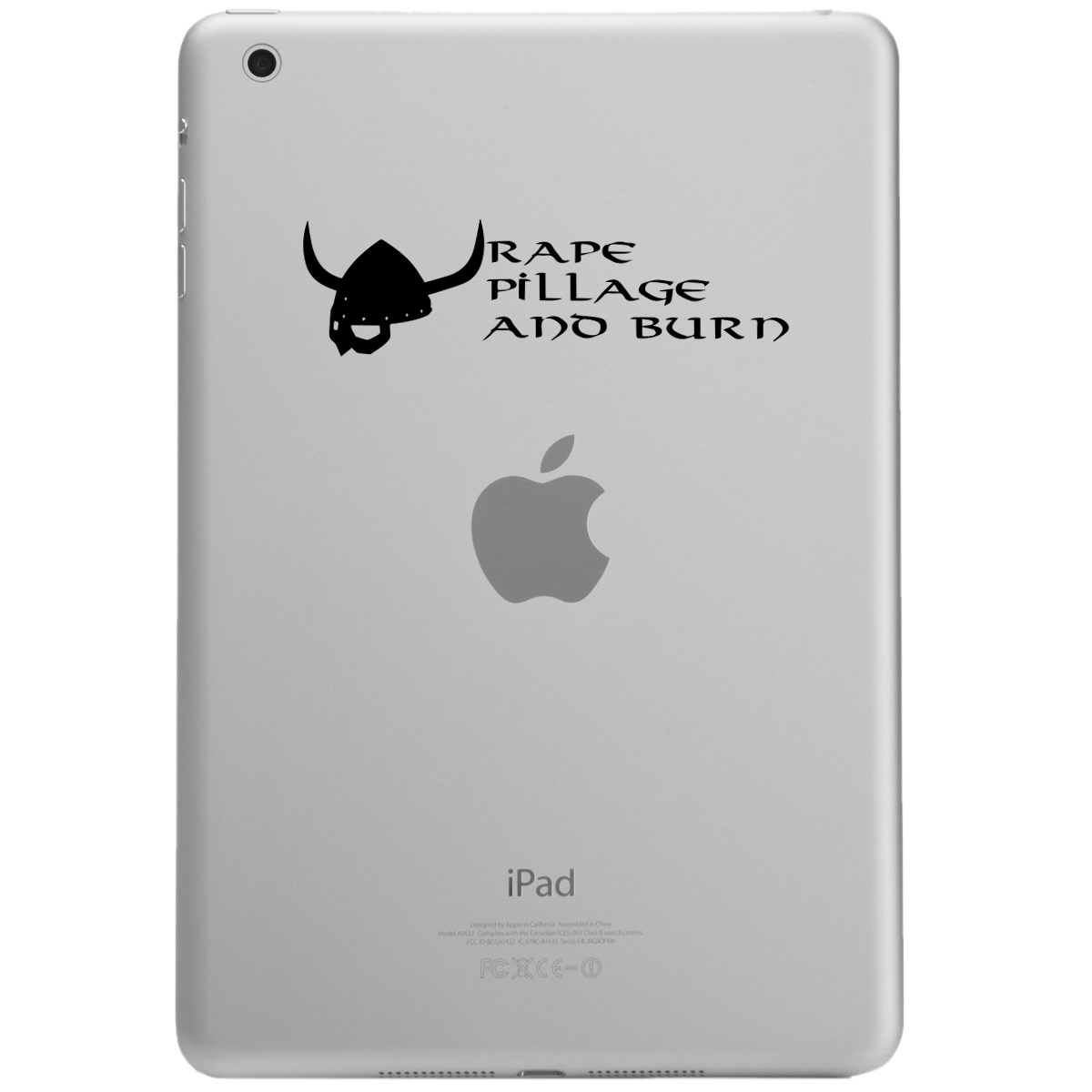 Funny Pillage Burn Viking iPad Tablet Vinyl Sticker Decal
