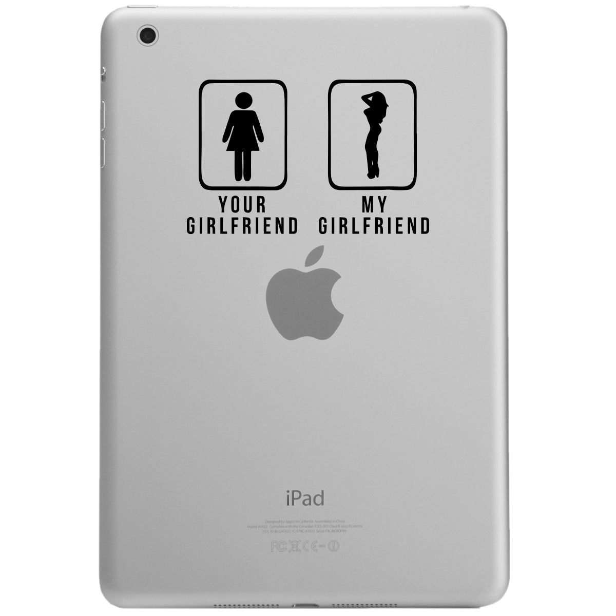 Your GF vs My GF Funny Door Signs iPad Tablet Vinyl Sticker Decal