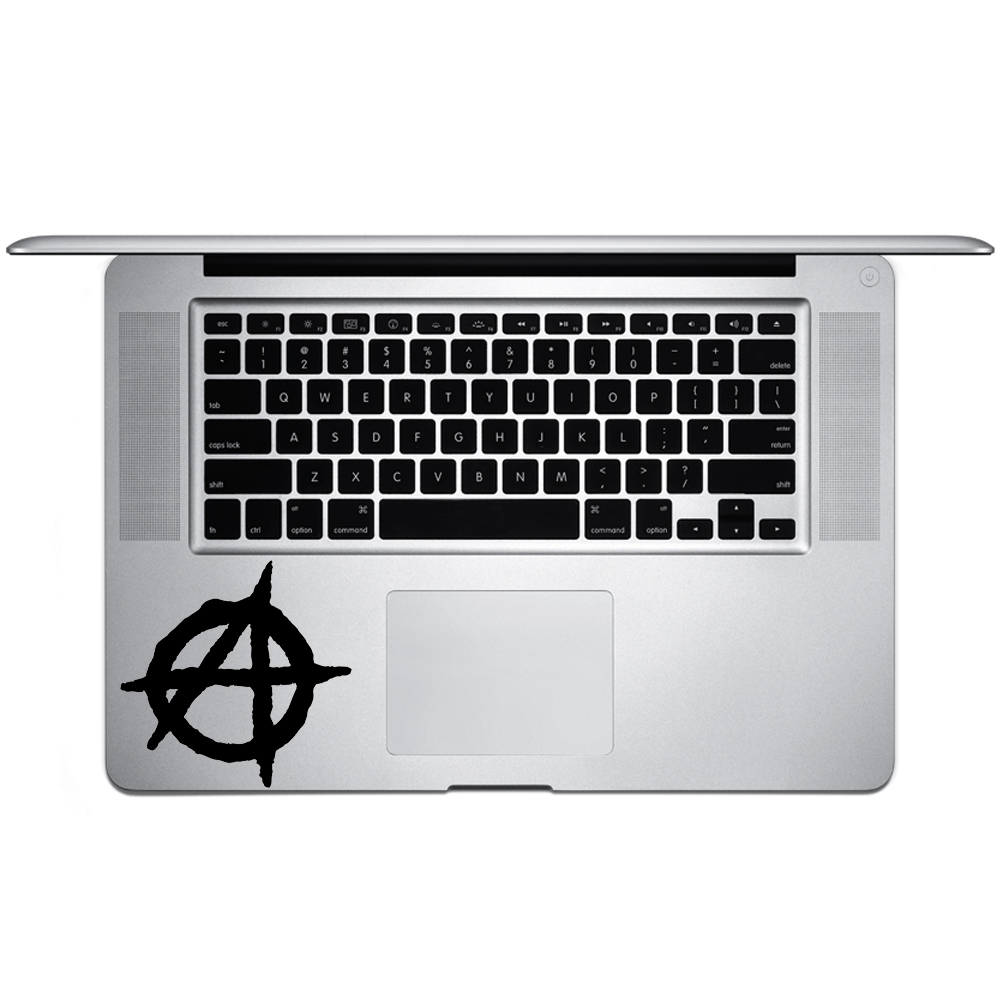 Anarchy Symbol Outline Vinyl Sticker Laptop Keyboard Inside Corner iPhone Cell Decal