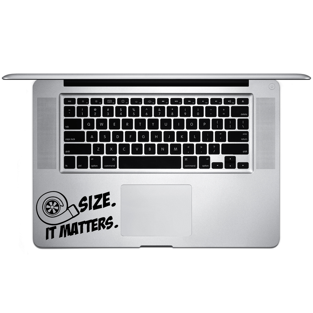 JDM Size Matters Turbo Boost Vinyl Sticker Laptop Keyboard Inside Corner iPhone Cell Decal