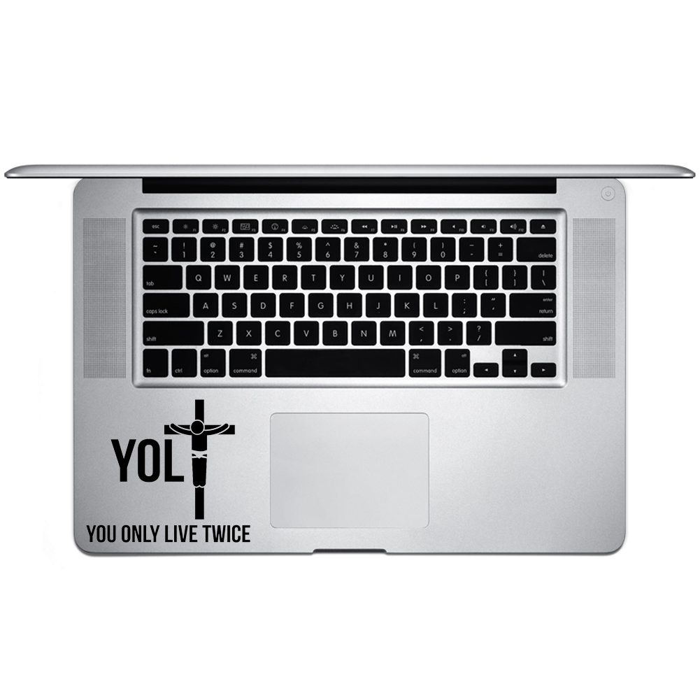 Funny YOLO Jesus Parosy Live Twice Vinyl Sticker Laptop Keyboard Inside Corner iPhone Cell Decal
