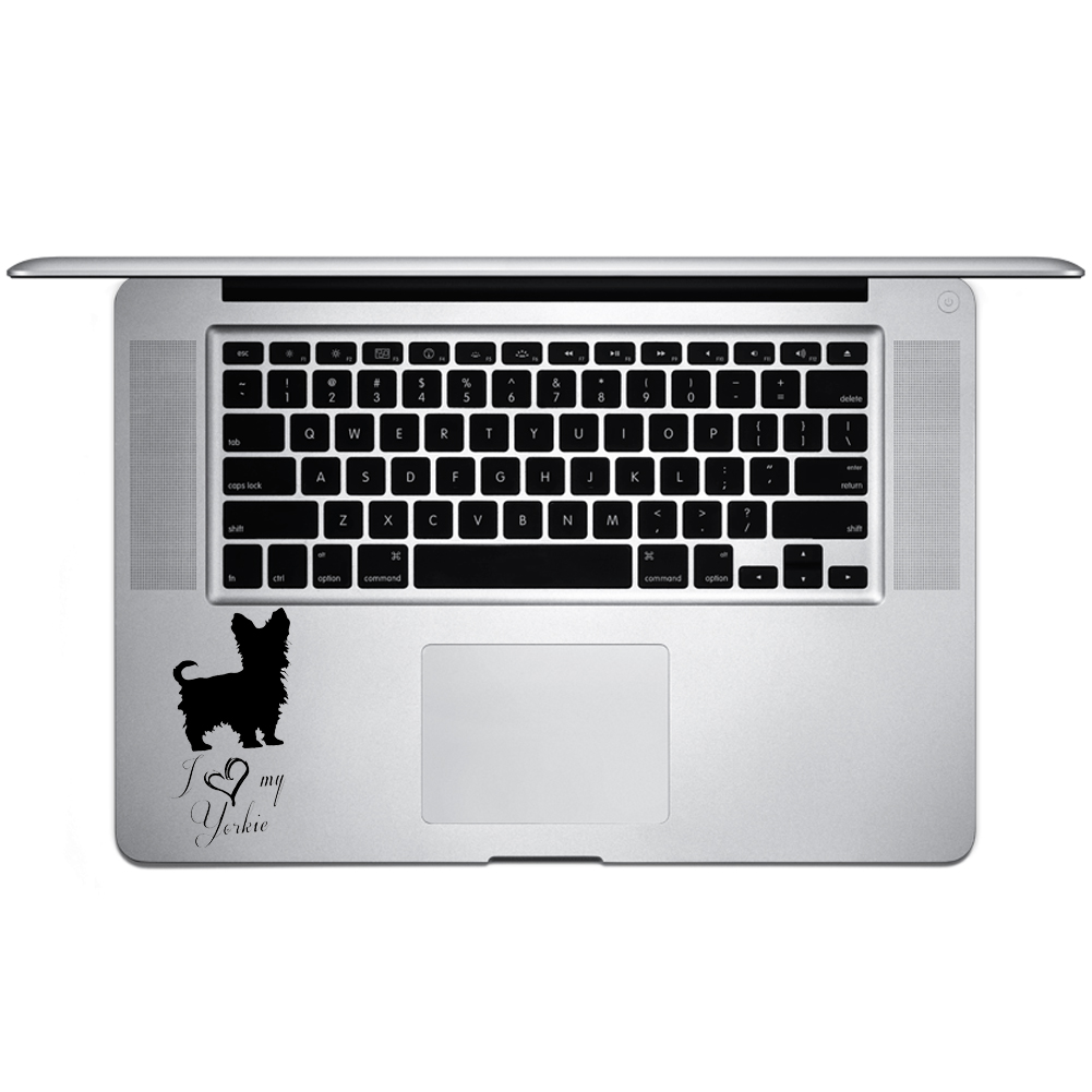 I Love My Yorkie Dog Cute Puppy Vinyl Sticker Laptop Keyboard Inside