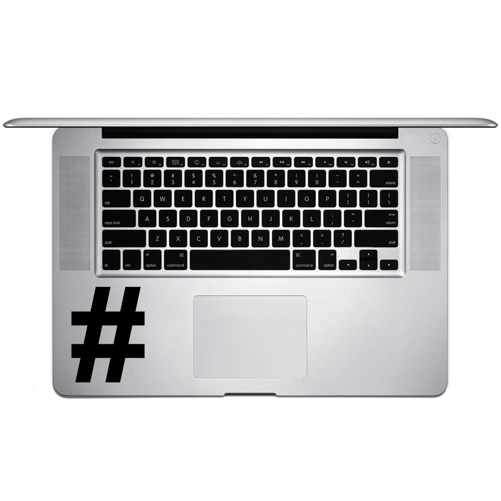 Pound Sign Hashtag Symbol Keyboard Character Vinyl Sticker Laptop