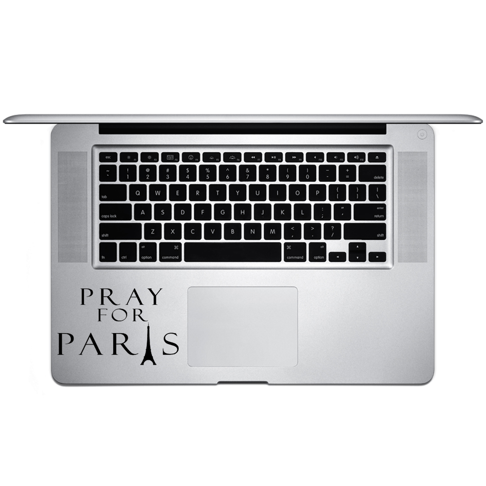 Pray for Paris Eiffel Tower Silhouette Vinyl Sticker Laptop Keyboard Inside Corner iPhone Cell Decal