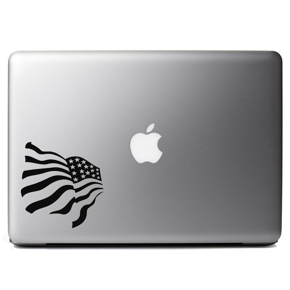 Patriotic Waving American USA Flag Vinyl Sticker Laptop Decal
