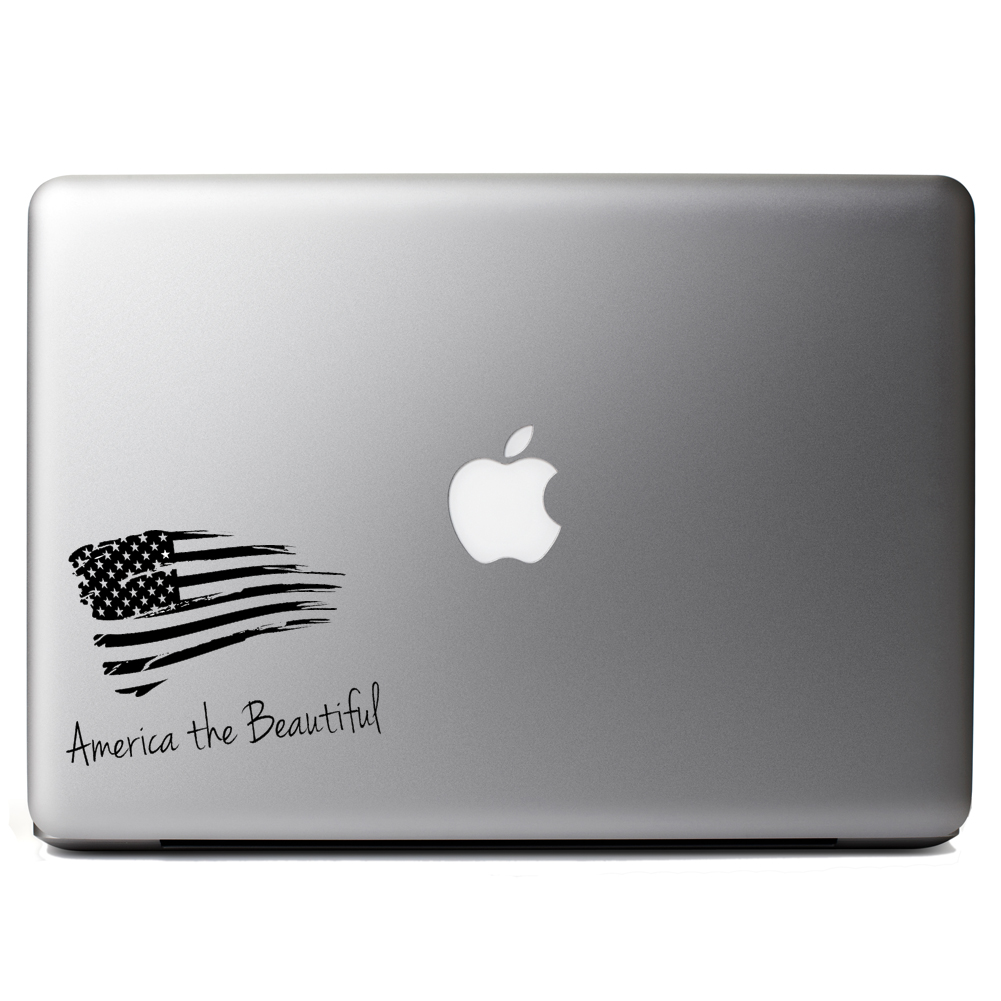 Patriotic America the Beautiful USA Flag Vinyl Sticker Laptop Decal