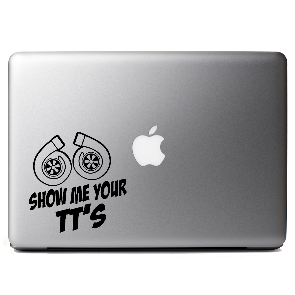 Funny JDM Show Me Your TT's Twin Turbo Boost Vinyl Sticker Laptop Decal