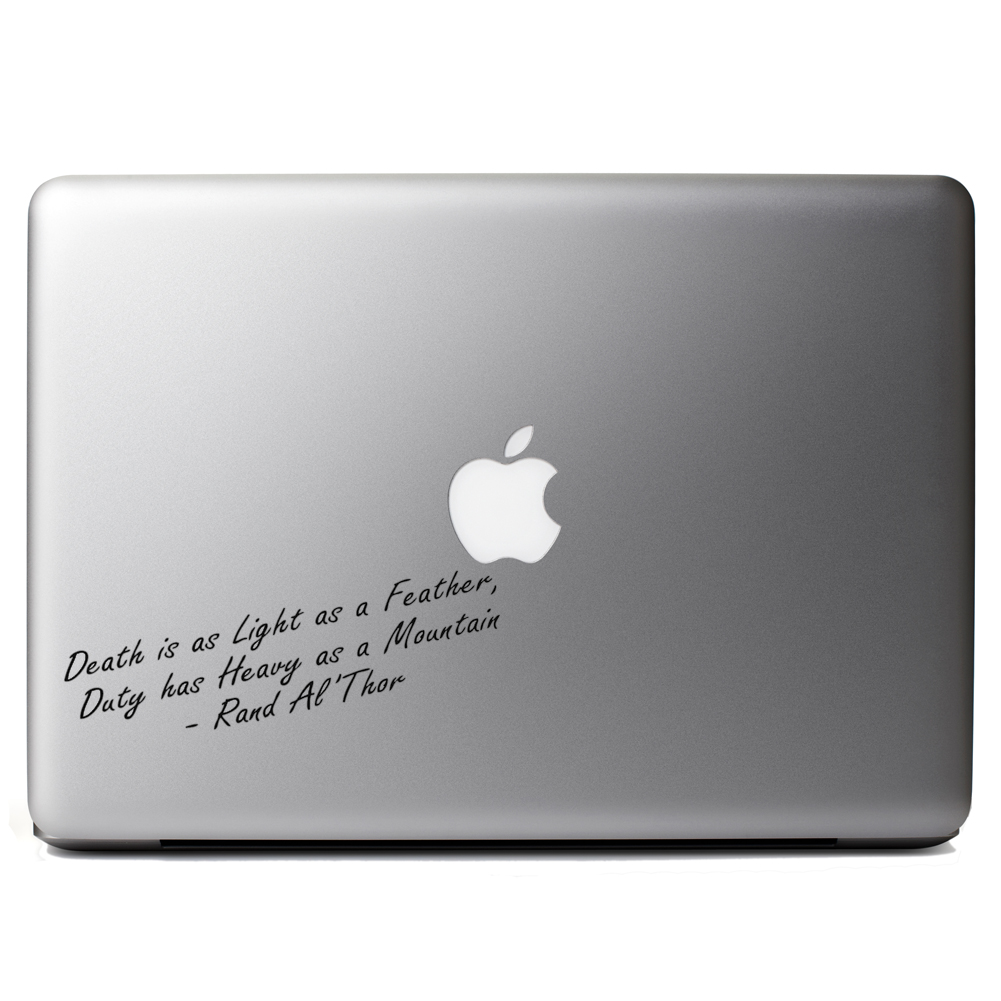 Death is Light as a Feather Quote Vinyl Sticker Laptop Decal