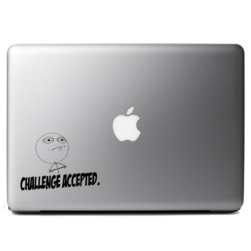 Meme Face Challenge Accepted Funny Vinyl Sticker Laptop Decal