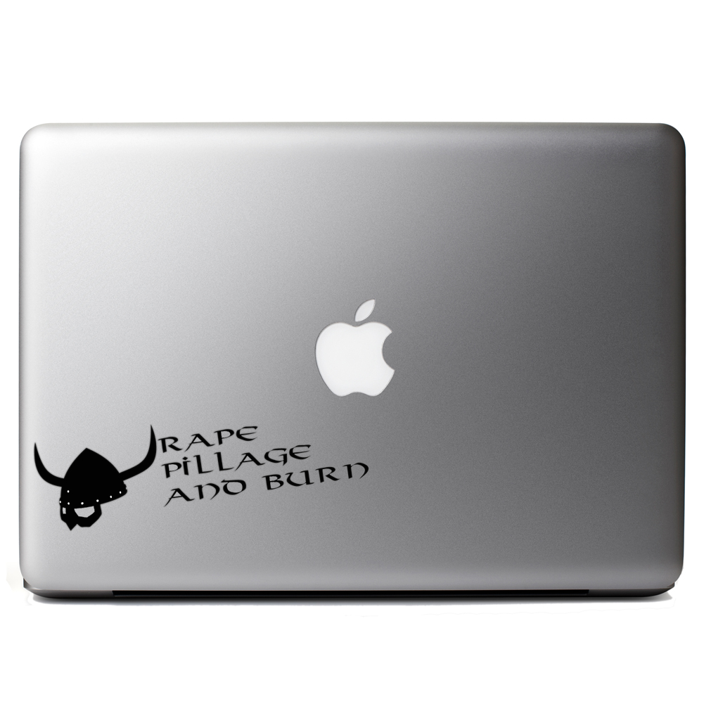 Funny Pillage Burn Viking Vinyl Sticker Laptop Decal