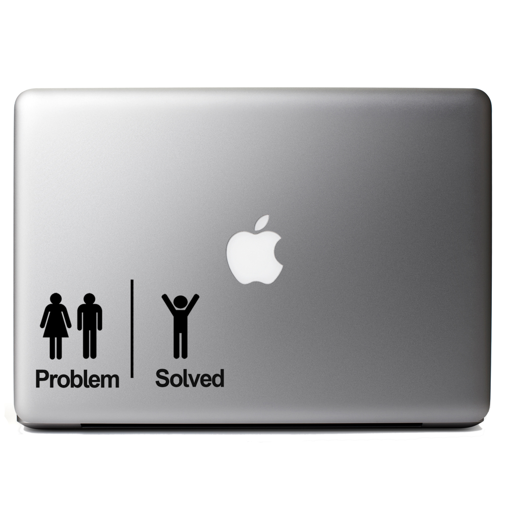 problem solved funny couple single man vinyl sticker laptop decal. Black Bedroom Furniture Sets. Home Design Ideas