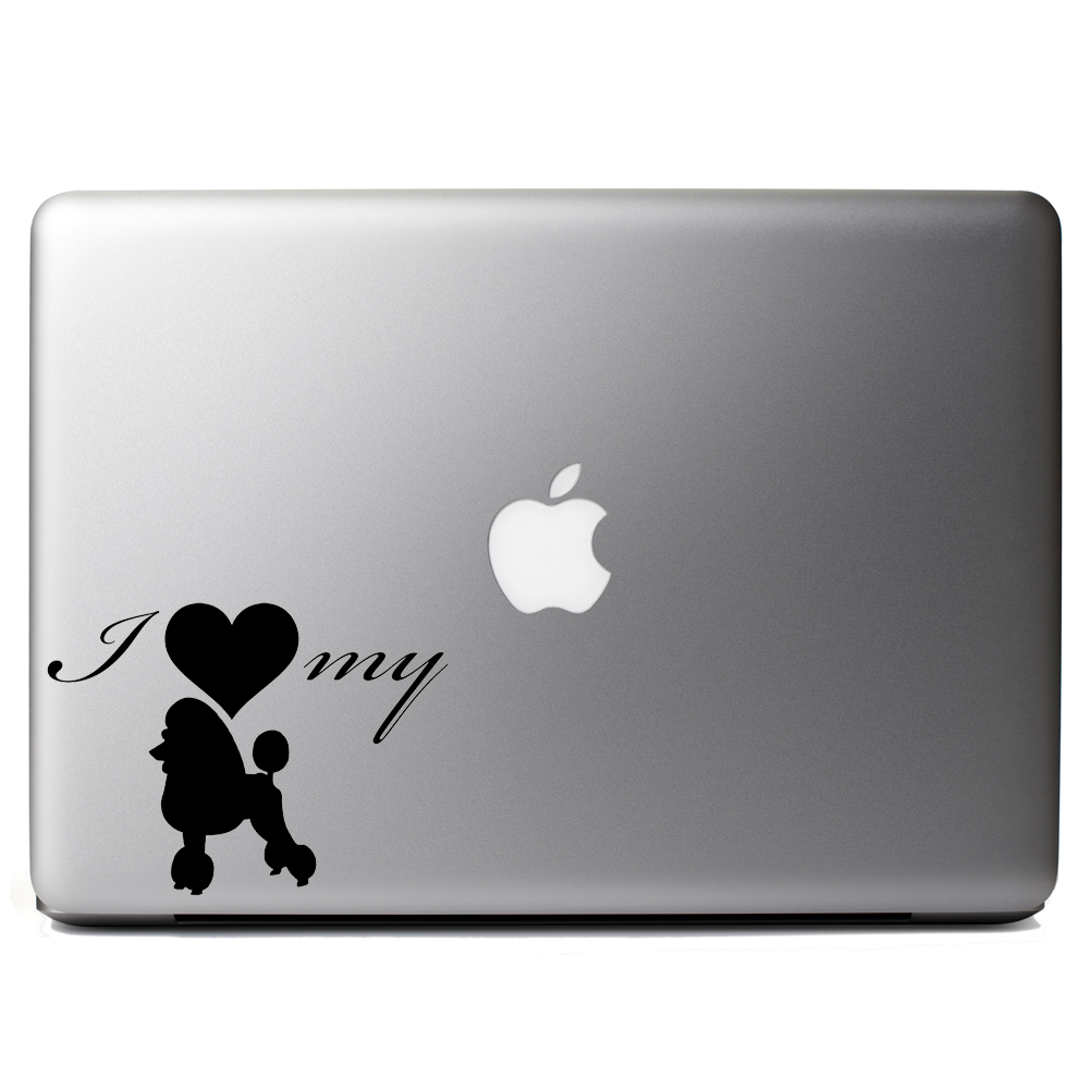 I Love My Poodle Dog Silhouette Heart Vinyl Sticker Laptop Decal