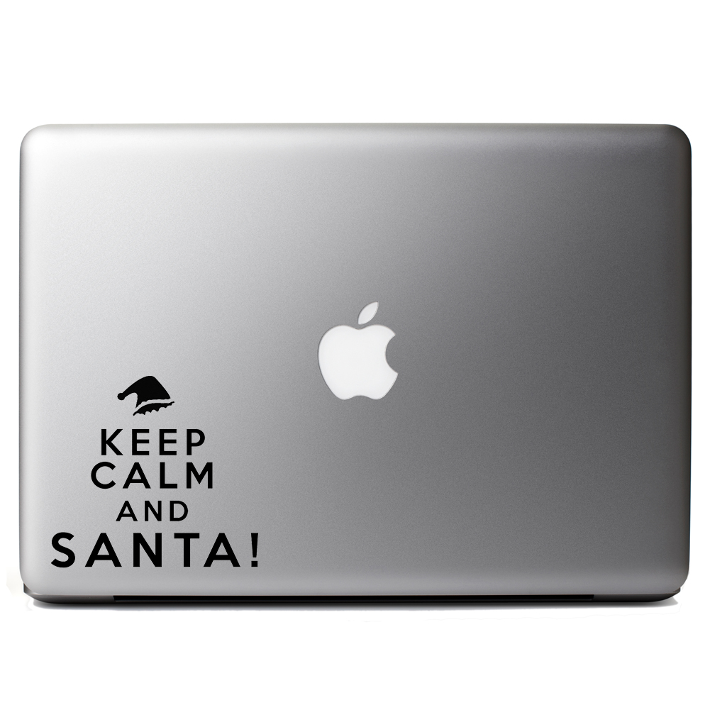 Funny Elf Keep Calm and Santa Christmas Vinyl Sticker Laptop Decal
