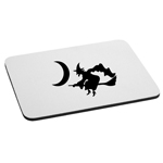 Witch Flying Broom Moon Spooky Silhouette Halloween Mouse Pad