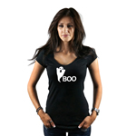 Ghost Silhouette Funny Boo Spooky Halloween Women's T-Shirt