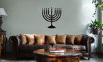 Jewish Hanukkah Menorah Silhouette Vinyl Wall Mural Decal Home Decor Sticker