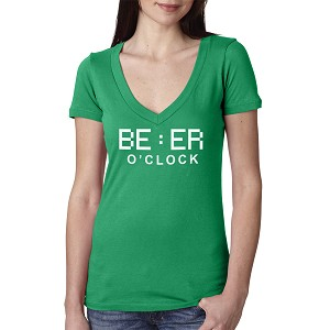 Beer O'Clock Drinking Funny Women's Cotton V Neck T-Shirt