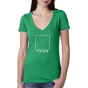 THINK Square Box Outside Women's Cotton V Neck T-Shirt